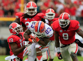 Mike Gillislee tries to break free from tacklers during an Oct. 27 game against Georgia