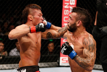 Pictured: Yasuhiro Urushitani, left; John Lineker, right. (Photo Credit: UFC/Zuffa)