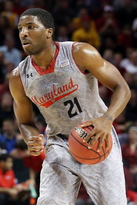 Nov 9, 2012; Brooklyn, NY, USA;  Maryland Terrapins guard Pe'Shon Howard (21) during the first half of the game against the Kentucky Wildcats at the Barclays Center Classic held at Barclays Center.  Mandatory Credit: Anthony Gruppuso-US PRESSWIRE