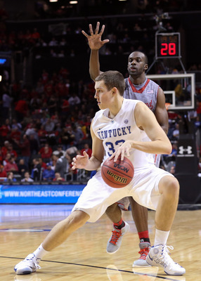 Nov 9, 2012; Brooklyn, NY, USA;  Kentucky Wildcats forward Kyle Wiltjer (33) during the second half of the game against the Maryland Terrapins at the Barclays Center Classic held at Barclays Center.  Mandatory Credit: Anthony Gruppuso-US PRESSWIRE