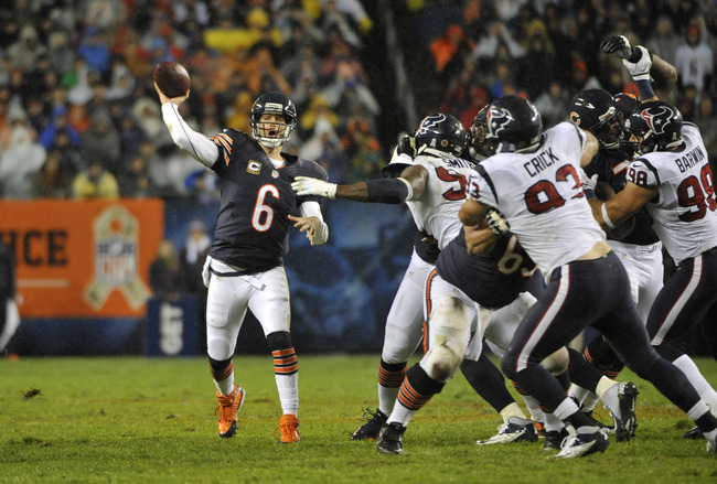 CHICAGO, IL - NOVEMBER 11: Jay Cutler #6 of the Chicago Bears goes back to pass against the Houston Texans on November 11, 2012 at Soldier Field in Chicago, Illinois. The Texans defeated the Chicago Bears 13-6. (Photo by David Banks/Getty Images)
