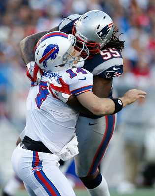 Brandon Spikes with his illegal hit that drew a 15-yard penalty