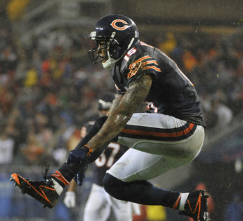 CHICAGO, IL - NOVEMBER 11: Brandon Marshall #15 of the Chicago Bears after making a catch against the Houston Texans on November 11, 2012 at Soldier Field in Chicago, Illinois. The Texans defeated the Chicago Bears 13-6. (Photo by David Banks/Getty Images