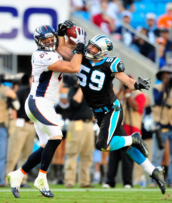 CHARLOTTE, NC - NOVEMBER 11:  Luke Kuechly #59 of the Carolina Panthers breaks up a pass intended for Joel Dreesen #81 of the Denver Broncos during play at Bank of America Stadium on November 11, 2012 in Charlotte, North Carolina. The Broncos won 36-14.