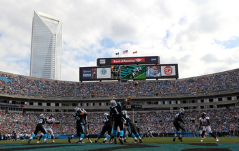 CHARLOTTE, NC - NOVEMBER 11:   Cam Newton #1 of the Carolina Panthers drops back to pass during their game at Bank of America Stadium on November 11, 2012 in Charlotte, North Carolina.  (Photo by Streeter Lecka/Getty Images)