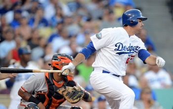 New acquisition Adrian Gonzalez putting a ball in play against the Giants.