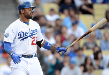 Dodgers OF Matt Kemp setting up one of his final at-bats in 2012 against the Giants.