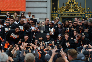 The World Champion San Francisco Giants in their championship parade.
