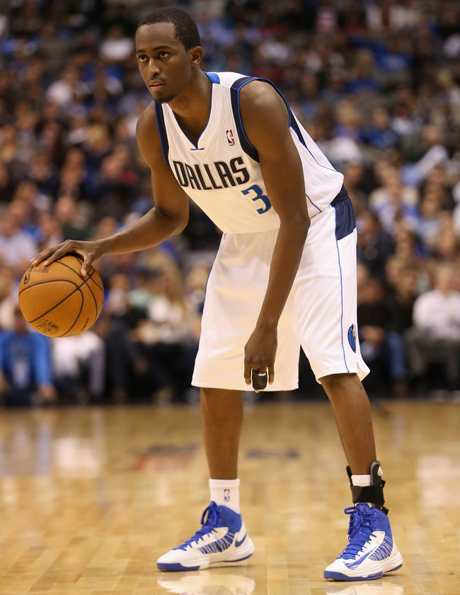DALLAS, TX - NOVEMBER 12:  Rodrigue Beaubois #3 of the Dallas Mavericks at American Airlines Center on November 12, 2012 in Dallas, Texas.  NOTE TO USER: User expressly acknowledges and agrees that, by downloading and or using this photograph, User is con