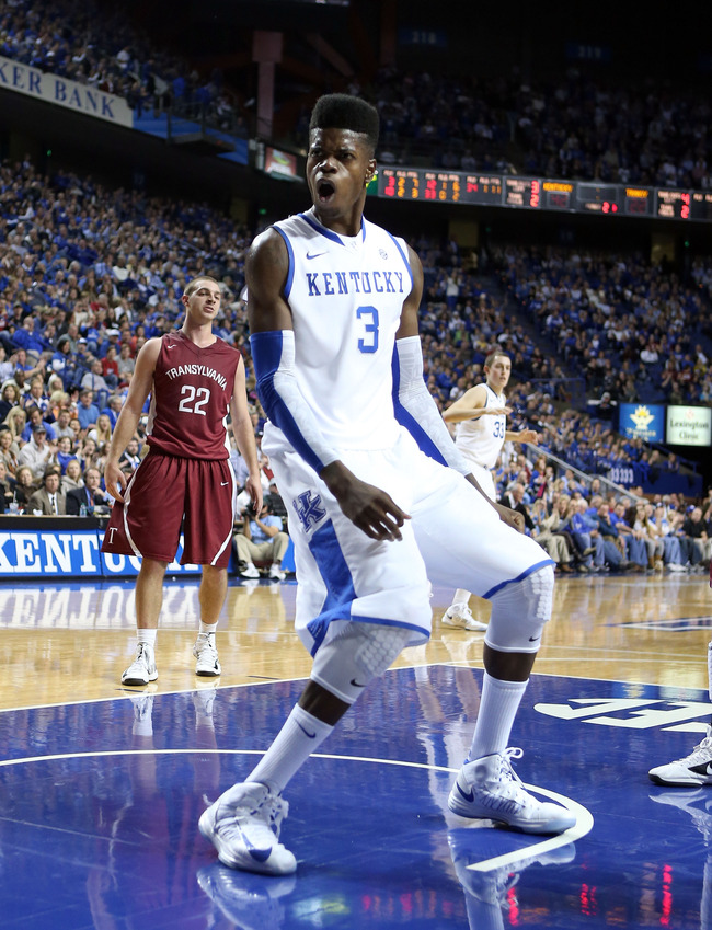 LEXINGTON, KY - NOVEMBER 05:  Nerlens Noel #3  of the Kentucky Wildcats celebrates after dunking the ball during the exhibition game against the Transylvania Pioneers at Rupp Arena on November 5, 2012 in Lexington, Kentucky.  (Photo by Andy Lyons/Getty Im