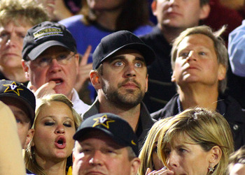 Aaron Rodgers taking in his brother's football game over the weekend.