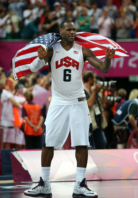LONDON, ENGLAND - AUGUST 12:  LeBron James #6 of the United States celebrates after the Men's Basketball gold medal game between the United States and Spain on Day 16 of the London 2012 Olympics Games at North Greenwich Arena on August 12, 2012 in London,