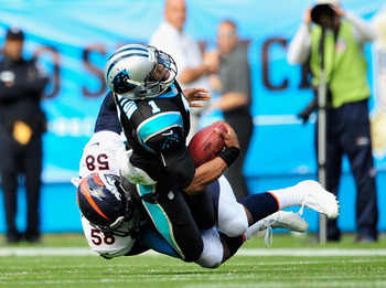 CHARLOTTE, NC - NOVEMBER 11:  Von Miller #58 of the Denver Broncos sacks quarterback Cam Newton #1 of the Carolina Panthers during play at Bank of America Stadium on November 11, 2012 in Charlotte, North Carolina.  (Photo by Grant Halverson/Getty Images)
