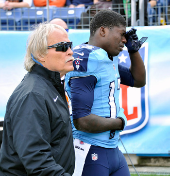NASHVILLE, TN - NOVEMBER 04:  Wide receiver Kendall Wright #13 of the Tennessee Titans is escorted off the field with an injury during the third quarter of a game against the Chicago Bears at LP Field on November 4, 2012 in Nashville, Tennessee.  (Photo b