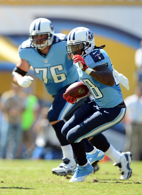 SAN DIEGO, CA - SEPTEMBER 16:   Chris Johnson #28 of the Tennessee Titans looks for a block on his run in front of  David Stewart #76 of the Tennessee Titans against the San Diego Chargers at Qualcomm Stadium on September 16, 2012 in San Diego, California