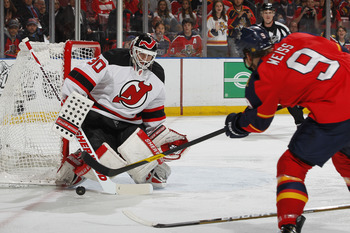 Stephen Weiss taking a shot on Martin Brodeur in Game 7 of their series against the Devils.