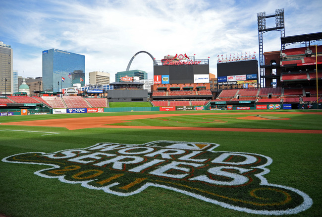 ST LOUIS, MO - OCTOBER 25:  The 2011 World Series logo is seen painted on the field with the Gateway Arch in the background ahead of Game 6 of the 2011 MLB World Series between the Texas Rangers and the St. Louis Cardinals at Busch Stadium on October 25,