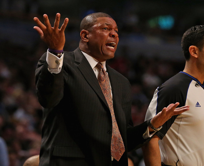 CHICAGO, IL - NOVEMBER 12: Head coach Doc Rivers of the Boston Celtics reacts to a call during a game against the Chicago Bulls at the United Center on November 12, 2012 in Chicago, Illinois. NOTE TO USER: User expressly acknowledges and agrees that, by d