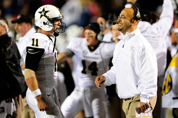 Vanderbilt QB Jordan Rodgers and head coach James Franklin
