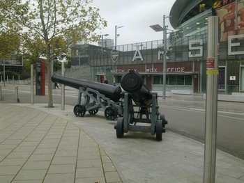 The cannons at the entrance to Emirates Stadium