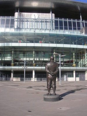 Herbert Champan's statue faces the Clock End