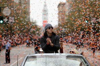 Lincecum during the World Series parade on Halloween.