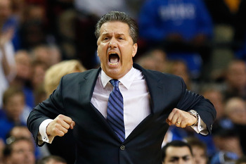 John Calipari was slightly animated on the sidelines against Duke