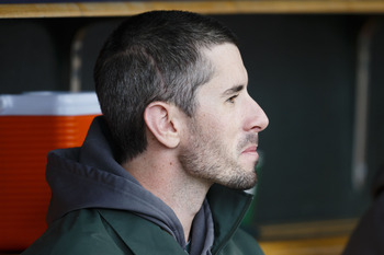 Brandon McCarthy returns to the dugout with a new scar and haircut.