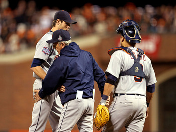 Doug Fister had a close encounter with a wicked line drive in Game 2 of the World Series.