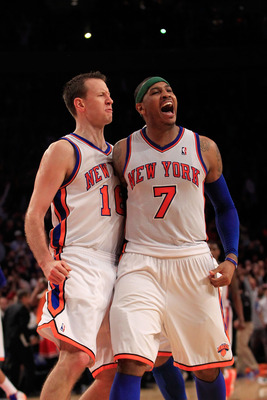 NEW YORK, NY - APRIL 08:  (R) Carmelo Anthony #7 of the New York Knicks celebrates his game winning three pointer with his teammate (L) Steve Novak #16 of the New York Knicks against the Chicago Bulls at Madison Square Garden on April 8, 2012 in New York