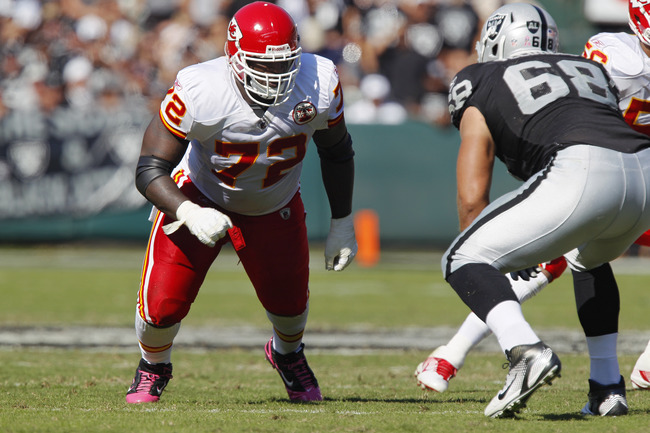 OAKLAND, CA - OCTOBER 23: Defensive end Glenn Dorsey #72 of the Kansas City Chiefs takes on Jared Veldheer #68 of the Oakland Raiders on October 23, 2011 at O.co Coliseum in Oakland, California. The Chiefs won 28-0. (Photo by Brian Bahr/Getty Images)