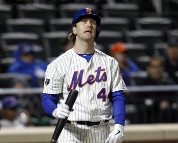 NEW YORK - SEPTEMBER 10:  Jason Bay #44 of the New York Mets reacts during an at-bat against the Washington Nationals during their game at Citi Field on September 10, 2012 in the Flushing neighborhood of the Queens borough of New York City.  (Photo by Jef
