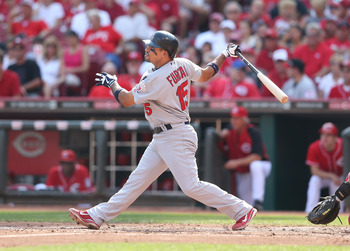 Raphael Furcal demonstrates his tremendous power to second base