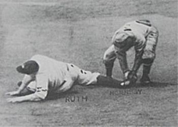 Babe Ruth gets the last out in the 1926 World Series- on the bases!