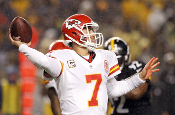 PITTSBURGH, PA - NOVEMBER 12:  Matt Cassel #7 of the Kansas City Chiefs drops back to pass against the Pittsburgh Steelers during the game on November 12, 2012 at Heinz Field in Pittsburgh, Pennsylvania.  (Photo by Justin K. Aller/Getty Images)