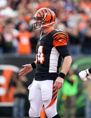 CINCINNATI, OH - NOVEMBER 11:  Andy Dalton #14 of the Cincinnati Bengals celebrates after throwing a touchdown pass during the NFL game against the New York Giants  at Paul Brown Stadium on November 11, 2012 in Cincinnati, Ohio.  (Photo by Andy Lyons/Gett