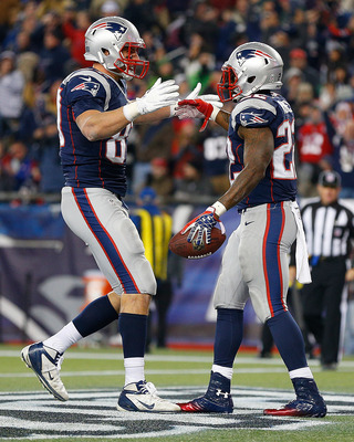 FOXBORO, MA - NOVEMBER 18: Stevan Ridley #22 of the New England Patriots celebrates his touchdown with Rob Gronkowski #87 of the New England Patriots  against the Indianapolis Colts in the second half at Gillette Stadium on November 18, 2012 in Foxboro, M