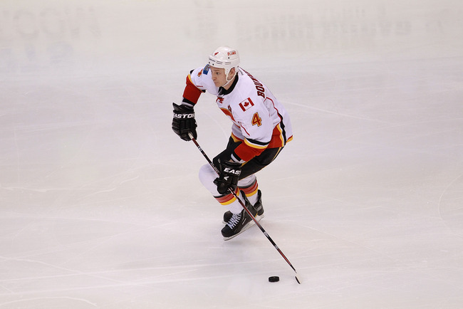DALLAS, TX - MARCH 24:  Jay Bouwmeester #4 of the Calgary Flames at American Airlines Center on March 24, 2012 in Dallas, Texas.  (Photo by Ronald Martinez/Getty Images)