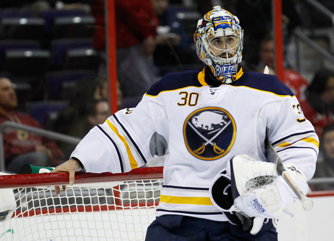 WASHINGTON, DC - MARCH 27: Ryan Miller #30 of the Buffalo Sabres looks on during a timeout against the Washington Capitals at the Verizon Center on March 27, 2012 in Washington, DC.  (Photo by Rob Carr/Getty Images)