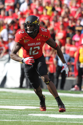 October 6, 2012; College Park, MD, USA; Maryland Terrapins wide receiver Kevin Dorsey (12) against the Wake Forest Demon Deacons at Byrd Stadium. Mandatory Credit: Mitch Stringer-US PRESSWIRE