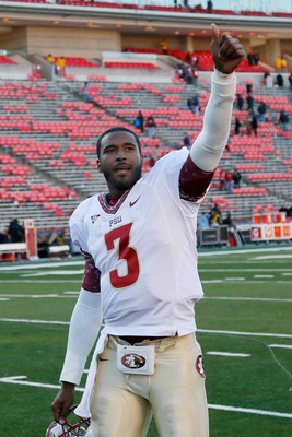 COLLEGE PARK, MD - NOVEMBER 17: Quarterback EJ Manuel #3 of the Florida State Seminoles motions to the crowd after the Seminoles defeated the Maryland Terrapins 41-14 at Byrd Stadium on November 17, 2012 in College Park, Maryland.  (Photo by Rob Carr/Gett