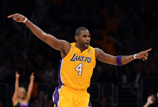 LOS ANGELES, CA - NOVEMBER 13:  Antawn Jamison #4 of the Los Angeles Lakers celebrates his basket during the game against the San Antonio Spurs at Staples Center on November 13, 2012 in Los Angeles, California.  The Spurs would win 84-82.  NOTE TO USER: U