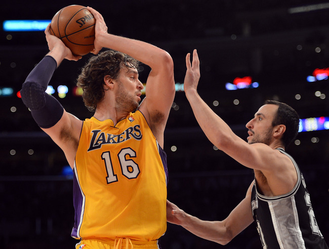 LOS ANGELES, CA - NOVEMBER 13:  Pau Gasol #16 of the Los Angeles Lakers faces Manu Ginobili #20 of the San Antonio Spurs at Staples Center on November 13, 2012 in Los Angeles, California.  The Spurs would win 84-82.  NOTE TO USER: User expressly acknowled