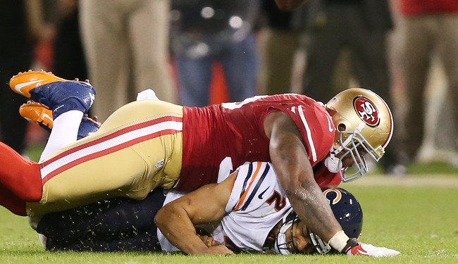 SAN FRANCISCO, CA - NOVEMBER 19:  Jason Campbell #2 of the Chicago Bears fumbles the ball as he is sacked by Ahmad Brooks #55 of the San Francisco 49ers in the third quarter of the game at Candlestick Park on November 19, 2012 in San Francisco, California