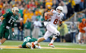WACO, TX - DECEMBER 03:  Jaxon Shipley #8 of the Texas Longhorns runs during a game against the Baylor Bears at Floyd Casey Stadium on December 3, 2011 in Waco, Texas.  (Photo by Sarah Glenn/Getty Images)