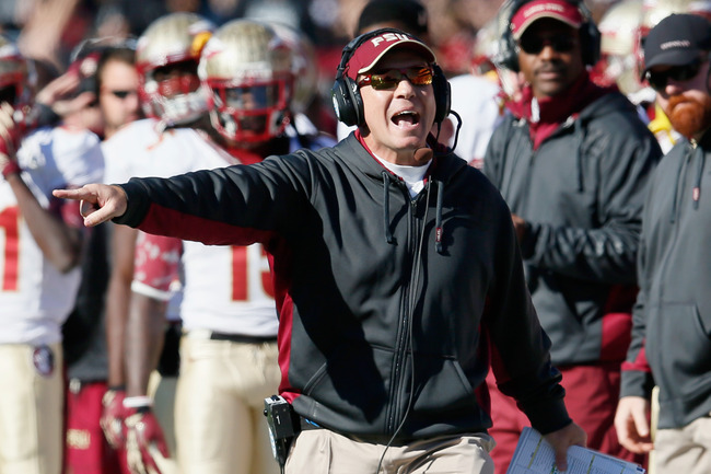 COLLEGE PARK, MD - NOVEMBER 17: Head coach Jimbo Fisher of the Florida State Seminoles yells at an official duirng the first half of the Seminoles 41-14 win over the Maryland Terrapins at Byrd Stadium on November 17, 2012 in College Park, Maryland.  (Phot