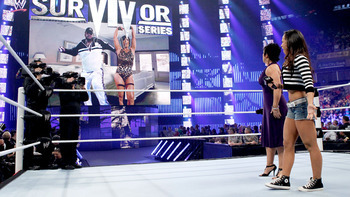 AJ appeared to confront Vickie Guerrero on Sunday wearing a short, striped shirt with even shorter shorts. Photo Courtesy of WWE.com