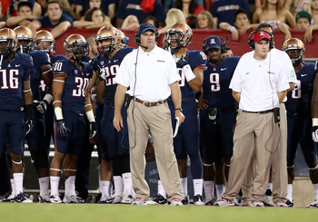 TUCSON, AZ - SEPTEMBER 29:  Head coach Rich Rodriguez of the Arizona Wildcats during the college football game against the Oregon State Beavers at Arizona Stadium on September 29, 2012 in Tucson, Arizona. The Beavers defeated the Wildcats 38-35.  (Photo b