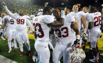 Stanford players celebrate after upsetting Oregon in OT
