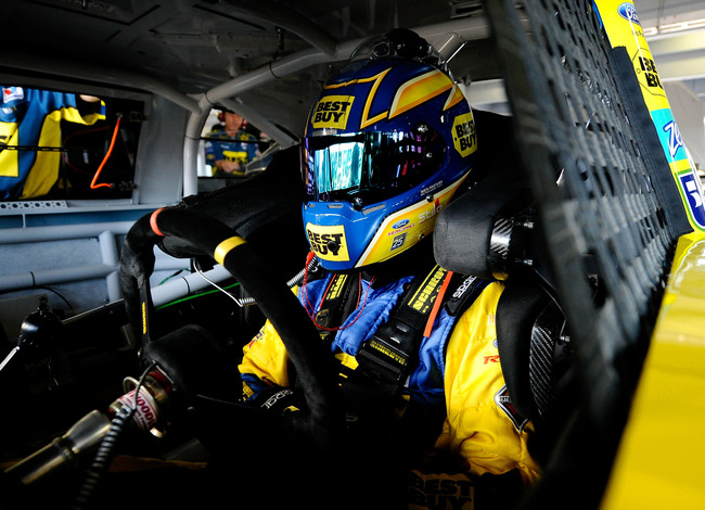 HOMESTEAD, FL - NOVEMBER 17:  Matt Kenseth, driver of the #17 Best Buy Ford, sits in his car during practice for the NASCAR Sprint Cup Series Ford EcoBoost 400 at Homestead-Miami Speedway on November 17, 2012 in Homestead, Florida.  (Photo by Jared C. Til